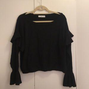 Zara Black Knit Ruffle Sweater - Size S
